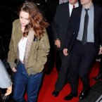 Out of the lace onesie, into jeans and runners. This was Kristen Stewart leaving the premiere last night. 