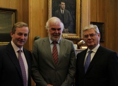 Enda Kenny, Tom Arnold and Eamon Gilmore pictured today.