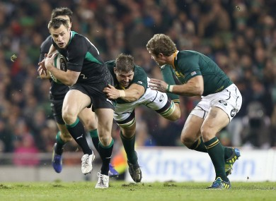 Ireland's Tommy Bowe and Willem Alberts of South Africa.