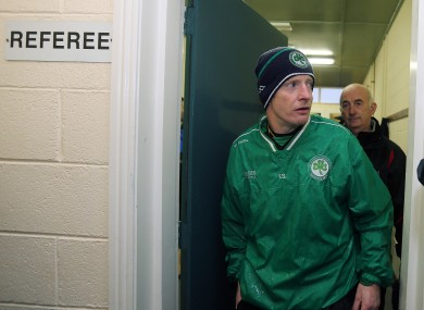 Ballyhale Shamrocks' manager Tommy Shefflin leaves the referees' room after being told the game was called off due to a waterlogged pitch last week.