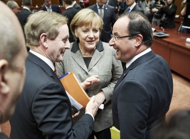 Enda Kenny meets French president Francois Hollande and German chancellor Angela Merkel ahead of yesterday's talks.