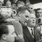Dermot Hannafin won his only All-Ireland title with Kerry in 1953 when they defeated Armagh to claim the Sam Maguire. Image: YouTube screengrab of Kerry captain Jas Murphy from that year.