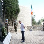 Damien Duff lays a wreath to honour the 47 irish Soldiers who have died in Lebanon during his visit to the 106 IrishFinn battalion in July 2012.