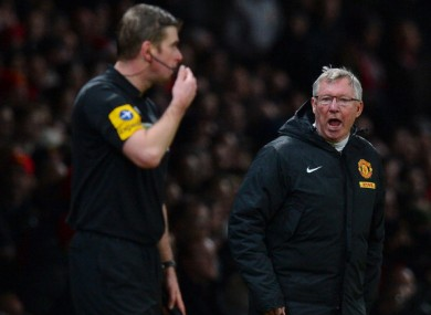 Ferguson on the sidelines at Old Trafford on St Stephen's Day.