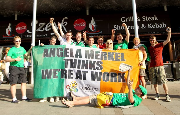 Irish fans with the Angela Merkel flag 13/6/2012