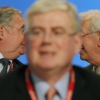 Not everyone was giving Eamon Gilmore and his Labour party the thumbs up this year. Under fire for Budget cuts, and criticsed for their handling of the abortion issue, Labour have seen some turbulent times. In December, party chair Colm Keaveney became the fifth TD to lose the party whip in just 19 months. (Image: Julien Behal/PA Wire)