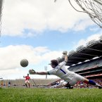 Measured to perfection. Mayo's Patrick Harte slots home a penalty past Kerry goalkeeper Brendan Kealy to help the Connacht side succeed in their league semi-final clash.