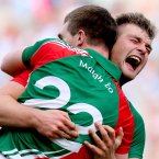 Brotherly love. The O'Shea brothers, Seamus and Aidan, from Breaffy rejoice at the final whistle after Mayo's victory. (INPHO/James Crombie).