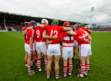 The Cork team huddle before their All-Ireland qualifier meeting with Wexford.