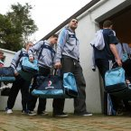 The Dublin team arrive at Dr Cullen Park. Credit: INPHO/James Crombie