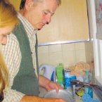 Bill Murray washing dishes in a student's flat in Scotland.