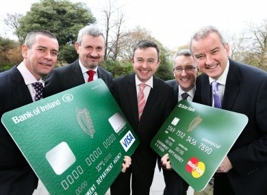 Procurement Minister Brian Hayes (centre) at the launch of the cards yesterday.