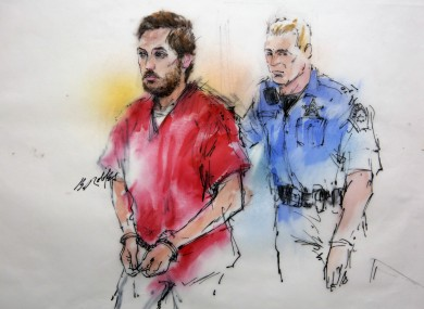 This courtroom sketch shows James Holmes being escorted by a deputy as he arrived for the preliminary hearing this week.