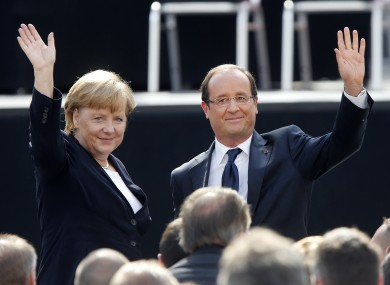 German Chancellor Angela Merkel and French President Francois Hollande, pictured in 2012