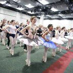 161 dancers from the Irish ballet and dance community at the Convention Centre Dublin, where they were hoping to set a new world record for the most ballet dancers 'en pointe' at once. Photo: Conor McCabe Photography