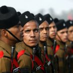 Indian Army soldiers march during during army day parade, in New Delhi, India, Sunday, Jan. 13, 2013. India marks Republic Day on Jan. 26 with military parades and festivities across the country. (AP Photo/Tsering Topgyal)