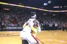 VIDEO: LeBron James tackled a fan to the ground after his successful $75,000 shot