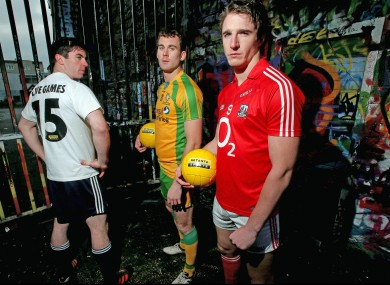Dublin's Michael Darragh MacAuley, Donegal's Eamon McGee and Cork's Aidan Walsh at today's launch.
