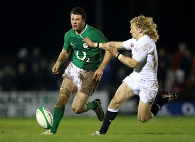 Ireland Wolfhounds' Robbie Henshaw and Tom Biggs of England Saxons