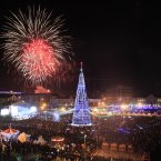 Fireworks explode in the sky over downtown Grozny, the capital of Chechnya, southern Russia. (AP Photo/Musa Sadulayev)