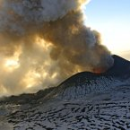Plosky Tolbachnik volcano erupts in Russia's Far Eastern Kamchatka Peninsula. A Russian volcano which started erupting last week has continued to spew ash and smoke into the air. The Plosky Tolbachik volcano, in the Kamchatka Peninsula, last erupted in 1976. (AP Photo/Alexander Petrov)
