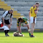 Meath's Shane McAnarney grabs a hold of this offender in Wexford Park as Wexford's Shane Cullen looks on.