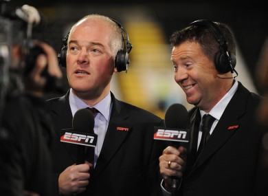 ESPN commentators Jon Champion (left) and Chris Waddle.