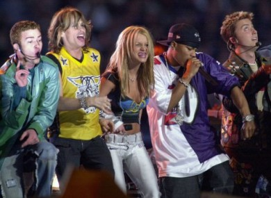 Left to right: Justin Timberlake, Steven Tyler, Britney Spears, Nelly and uh, Lance Bass