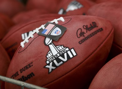 One of the footballs that will be used during this year's Super Bowl.