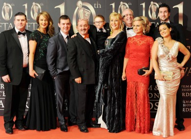 Brendan O'Carroll and his family arrive at the Convention Centre in Dublin for the 10th annual Irish Film and Television Awards