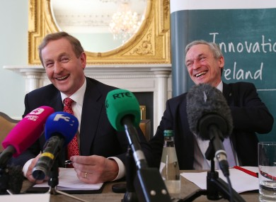 Taoiseach Enda Kenny and Jobs Minister Richard Bruton at the announcement of the 450 new eBay jobs this morning