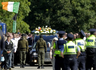 Mourners at the funeral of Alan Ryan in north Dublin last year