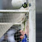 Kerry's Anthony Maher can't prevent the ball from going over the bar. Pic: INPHO/Cathal Noonan