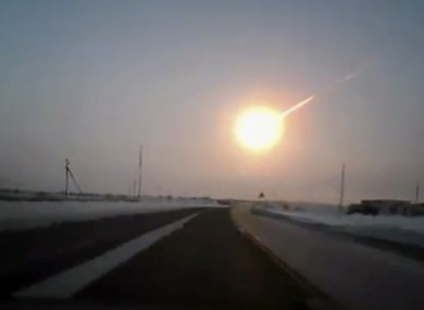 A framegrab made from a video taken with a dashboard camera of the meteorite