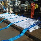Around 200 of these bags are already in place under the hull to provide extra support.