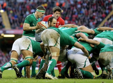 O'Driscoll prepares to feed the scrum.