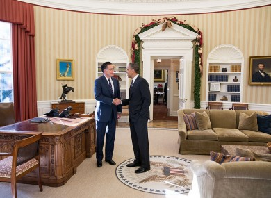 Barack Obama greets Mitt Romney in the Oval Office - which will be vacant while the West Wing undergoes major repairs.