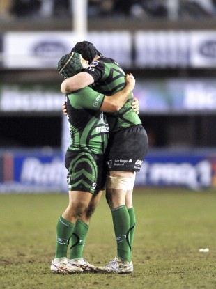 Connacht's Ethienne Reynecke and Andrew Browne celebrate at the end of the game.