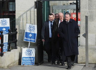 GRA representatives, including general secretary PJ Stone (right), after meeting with the Garda Commissioner at Garda HQ