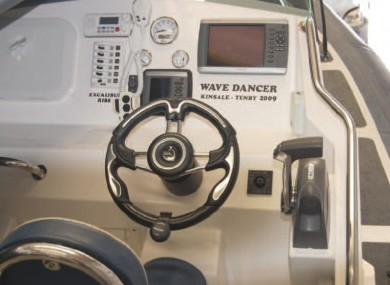 The helm of the motor boat involved in the incident.