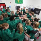 Ireland's pre-match team huddle.