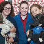 Jennifer with her dog Betsy, Portlaoise Petmania Manager Aisling and Lorraine, who has been fostering Taylor.