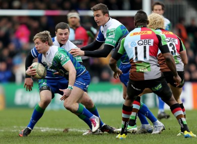 Kieran Marmion and Robbie Henshaw attack Harlequins.