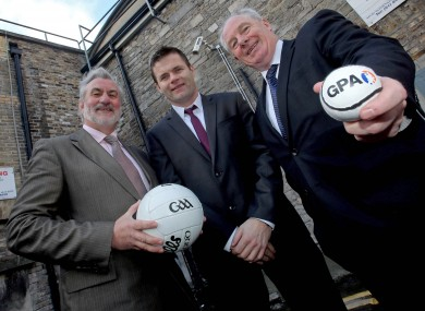 Irish Sports Council chairman Kieran Mulvey, President of the Gaelic Players Association Dessie Farrell and Michael Ring TD, Minister of State for Transport, Tourism &amp; Sport. 