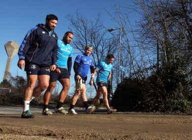 Leinster players arrive for training.