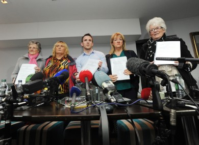 Members of the Magdalene Survivors Together group speak to reporters after the publication of today's report.