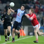 Dublin's Michael Darragh MacAuley is tackled by Andrew O'Sullivan of Cork. Pic: INPHO/Cathal Noonan
