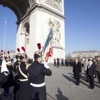 President Higgins is pictured at the Arc de Triomphe. By Line Aras/Photocall Ireland