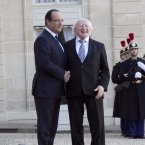 President Higgins is pictured at the Elysee Palace with President Hollande. By Line Aras/Photocall Ireland
