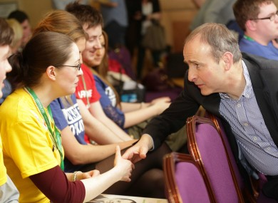 Party leader Micheál Martin pictured at the Ógra Fianna Fáil National Youth Conference today.